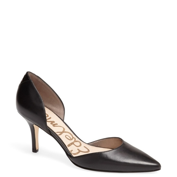 fe0fb329c813 Sam Edelman Opal d Orsay Pump Heel Black Leather. M 5a828d7d5521be7aff959210